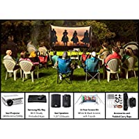 Recreation Series System | 11 Front and Rear Projection Screen with HD Savi 1080p Projector, Surround Sound System & Blu-Ray Player w/WiFi (EZ-100)