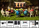 Backyard Theater Kit | Recreation Series System | 11' Front and Rear Projection Screen with HD Savi 3000 Lumen Projector, Sound System & Blu-Ray Player w/WiFi (EZ-100)