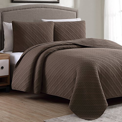 Estate Brand, Lafayette Chocolate Pattern, Microfiber Quilt Bedding Set, King Size (146212) - Lafayette Comforter Set