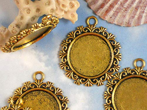 4 Bezel Blanks Cabochon Settings Pendants Antique Gold Tone Fancy Round Vintage Crafting Pendant Jewelry Making Supplies - DIY for Necklace Bracelet Accessories by CharmingSS (Fancy Cabochon 925 Silver Pendant)