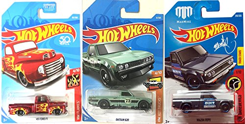 MadMike Hot Wheels Mazda Repu Pickup Truck New Model 2017 #286 Daredevil Series + Datsun 620 Hot Trucks #9 / 2018 HW Flames Ford F1 in Protective Cases