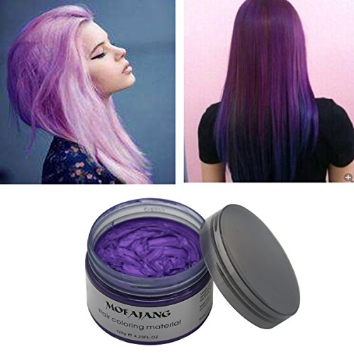 Rotus Hair Color Wax Natural Ash Matte Long-lasting Professional Strong Hair Lacquers Gel Cream 4.23oz for Men and Women (Purple) -