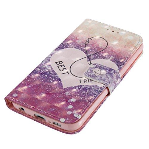 Funda Samsung Galaxy S6, Coloridas gotas de carillones de viento Funda Libro de Cuero Flip Cover con TPU Case Interna Para Samsung Galaxy S6, Wallet Case con Soporte Plegable, Ranuras para Tarjetas y  Amico
