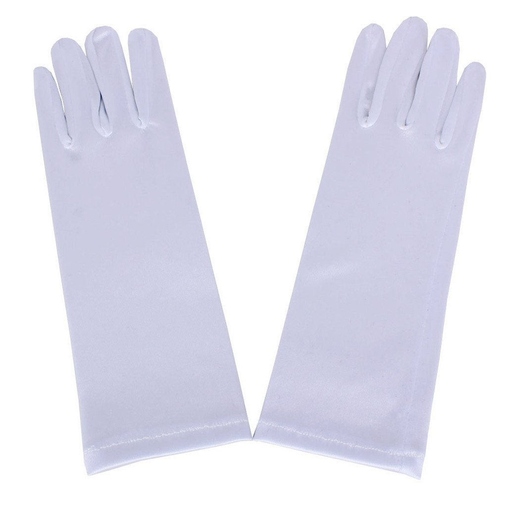 DreamHigh Kids Formal Stretch Satin Long Finger Gloves for Girl Children Party