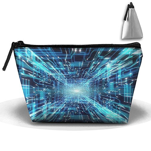 Makeup Bag Trapezoidal Storage Bag Futuristic Line Light Portable Cosmetic Bag Ladies Mobile Travel Bag]()