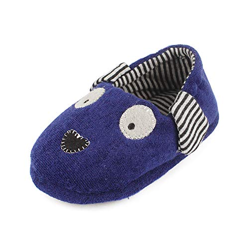 - Toddler Boys Girls Doggy Slippers Plush Warm Cartoon Puppy Indoor Bedroom Shoes, Navy US 6-7 M