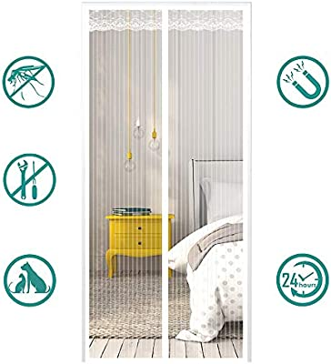 MeetBeauty Mosquitera Puerta Magnetica Corredera Cortina Mosquitera Magnética para Puertas Cortina de Salón de Estar la Puerta del Balcón Puertas, Blanco, 70 x 200 cm: Amazon.es: Hogar