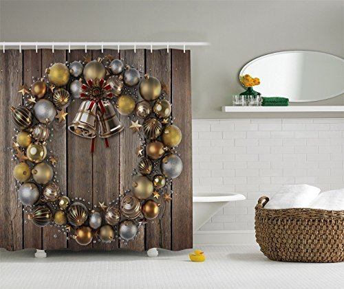 Gold Christmas Wreath (Ambesonne Holiday Christmas Gold Silver Wreath Fabric Digital Shower Curtain)
