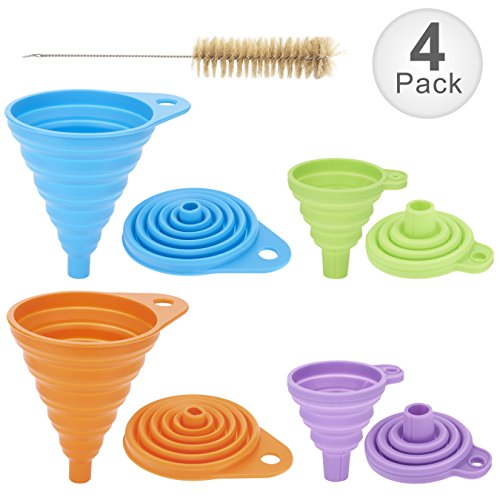 Collapsible Funnel Set of 4 with Bottle Brush, Flexible Silicone Foldable Kitchen Funnel for Liquid/Powder Transfer,100% Food Grade Silicone FDA Approved Silicone Funnel (Small+Large) -