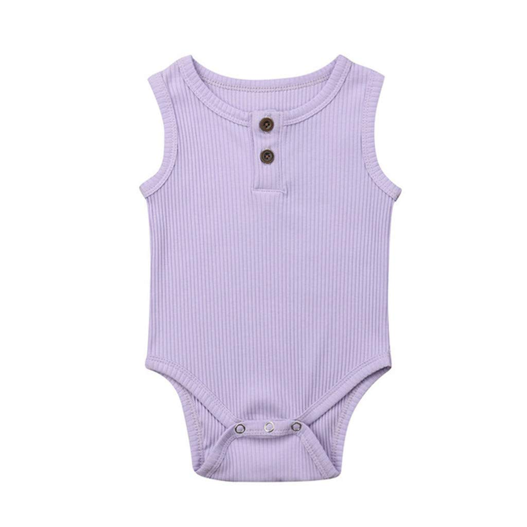 NUWFOR Toddler Baby Kids Girls Boys Sleeveless Solid Romper Sunsuit Bodysuit Cothes(Purple,3-6 Months
