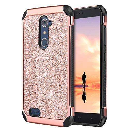 ZTE ZMax Pro Case, ZTE Carry Z981 Case, DUEDUE Glitter Dual Cover Layer Slim Hybrid Bling Shiny Faux Leather Protective Phone Case for ZTE ZMax Pro/ZTE Carry Z981 for Girls/Women, Rose Gold (Best Zmax Pro Case)