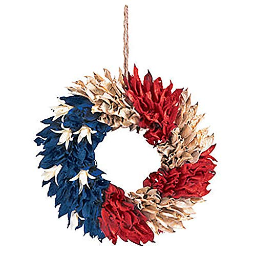 American Flag Floral Wreath, Natural - Size 11