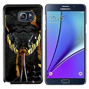 Caucho caso de Shell duro de la cubierta de accesorios de protección BY RAYDREAMMM - Samsung Galaxy Note 5 5th N9200 - veneno de serpiente venenosa de color amarillo negro