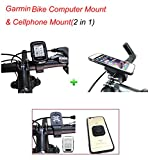 Calmpal 2 in 1 Combination of Garmin Edge Bike Computer Mount & Cellphone Mount,Compatible with all Garming Bike Computer & All Styles of Cellphones
