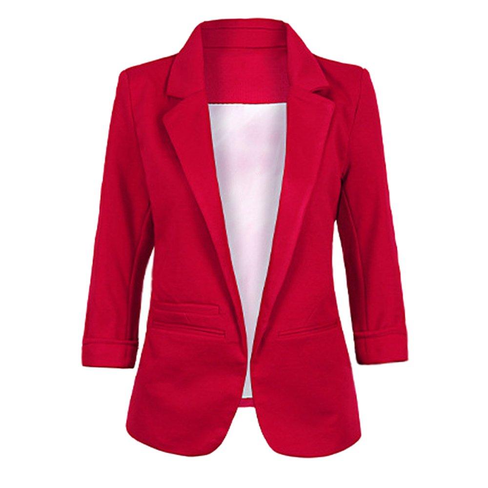 Lrud Women's Fashion Cotton Rolled Up 3/4 Sleeve Slim Office Blazer Jacket Suits Wine Red XXL