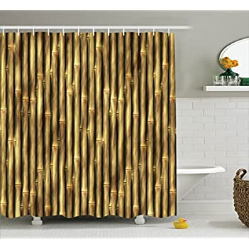Amazon.com: Ambesonne Beige Decor Collection, Tropical Bamboo Poles ...
