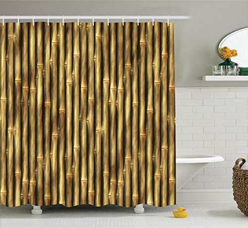 Ambesonne Beige Decor Collection, Tropical Bamboo Poles Woody Grass Asian Ethnic Style Tall Thin Harvest Natural Artprint Home, Polyester Fabric Bathroom Shower Curtain Set with Hooks, Golden