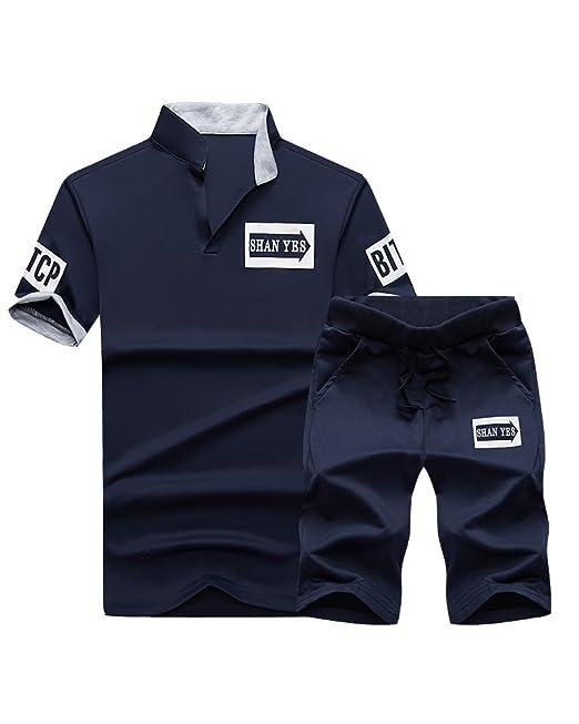 DianShao Hombre 2 Piezas Sets Camiseta Manga Corta Pantalones ...