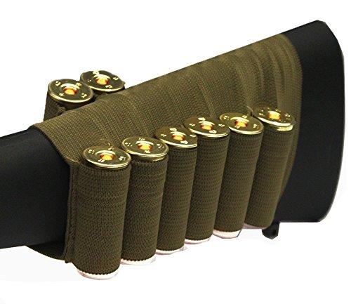 Tan 8 Round Shotgun Ammo Shot Shell Cartridge Hunting Stock Buttstock Slip Over Carrier Holder Fits 12 / 20 GA Gauge Ambidextrous Remington 870/1187/11-87 Pump Action Sporter