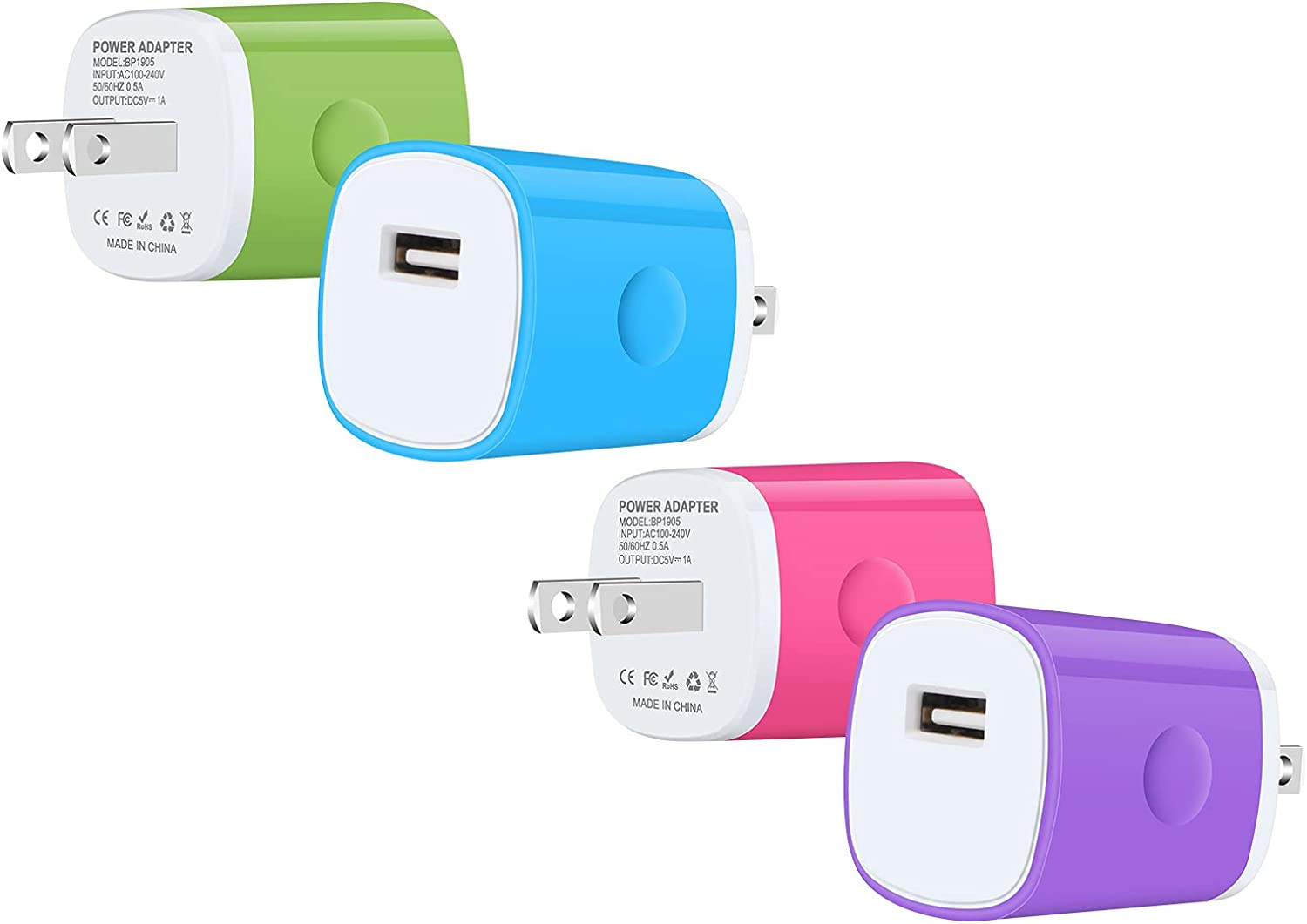 iPhone Charger Fast Charging Block 4-Pack 5V/1A Universal One Port USB Wall Plug for Samsung Galaxy S11 S21 Ultra S20FE Note 10 9 iPhone 12 SE 11Pro Max XS XR 8 7 Plus LG Charger Base Box Cube