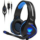 BUTFULAKE PS4 Gaming Headset,3.5mm Wired Stereo Over-ear headphone with Noise Cancelling Mic LED Light for Xbox One S PlayStation 4 Pro Slim Nintendo Switch PC,Blue