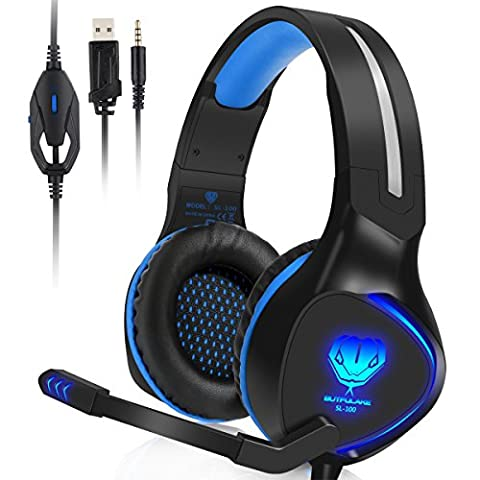 BUTFULAKE PS4 Gaming Headset,3.5mm Wired Stereo Over-ear headphone with Noise Cancelling Mic LED Light for Xbox One S PlayStation 4 Pro Slim Nintendo Switch - Delicate Audio Equipment