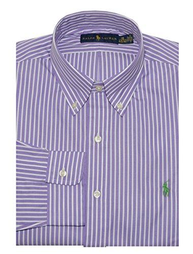 Ralph Lauren Men's Striped Poplin Shirt (16, Orchid/White) ()