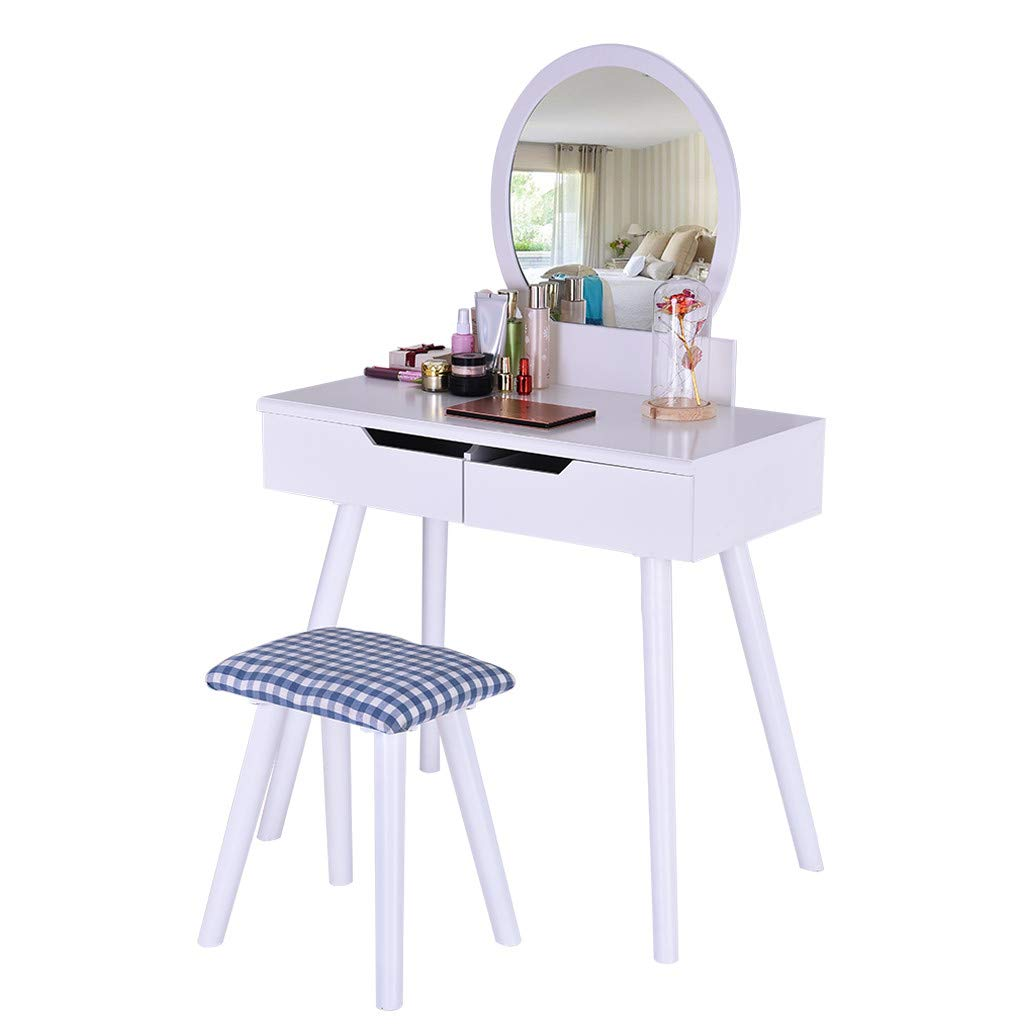 Dressing Tables with Mirror and Stool, Vanity Table Round Mirror Makeup Vanity Set for Women Girl with 2 Large Sliding Drawers - Shipped from US (81 x 41 x 129 cm, White)