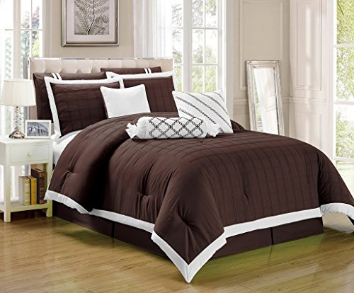 Decor Chocolate (Legacy Decor 9 pc Pleated Microfiber Comforter Set, Chocolate Brown and White Color, California King Size)