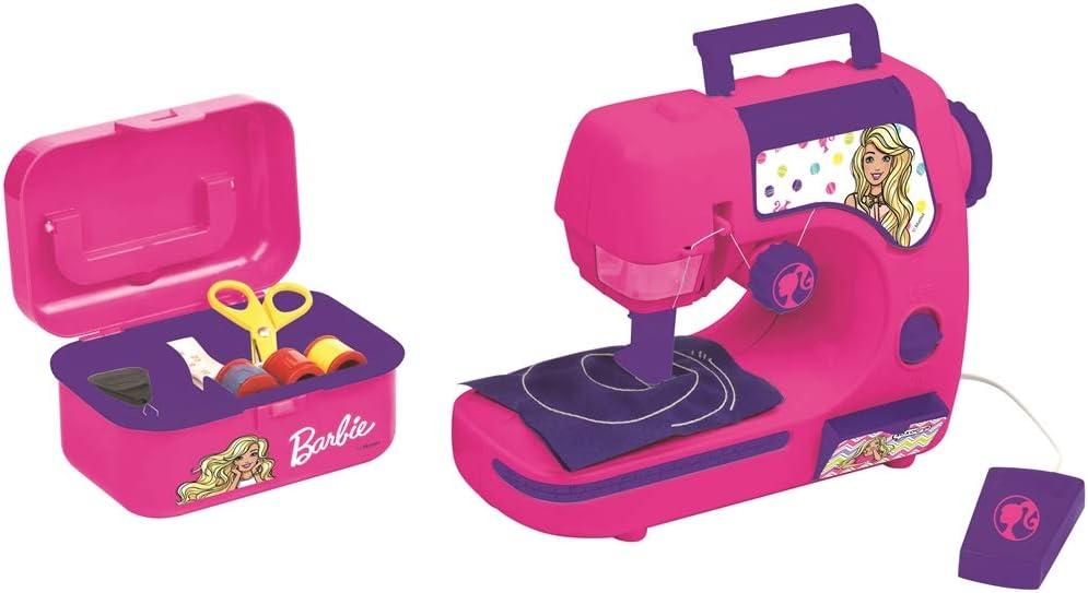 Barbie-Mattel Lexibook SW100B Máquina de Coser con Accesorios, Luz Y Pedal, Juguete de Imitación para Niñas, Juego Diseño de Moda, Rosa (Sw100Bb), color, 6 , color/modelo surtido