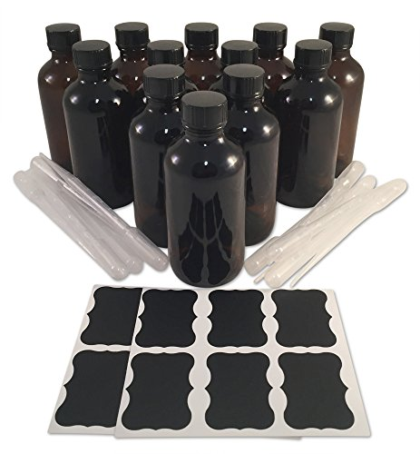 (12) 4 Ounce 4 oz Empty Amber Boston Round Glass Bottles with Black Phenolic Cone Lined Caps (12) 3ml Pipettes (12) Chalk Labels for Essential Oils, Cleaning Products, Aromatherapy