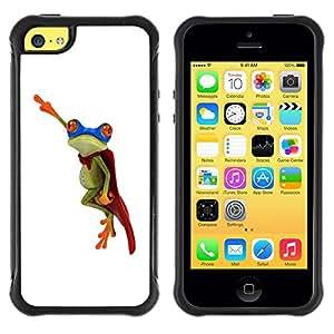 Suave TPU GEL Carcasa Funda Silicona Blando Estuche Caso de protección (para) Apple Iphone 5C / CECELL Phone case / / Frog Flying Hero White Minimalist /