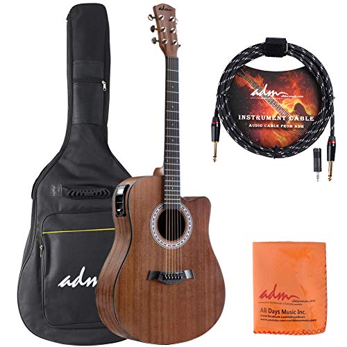 ADM Full Size Acoustic Electric Cutaway Dreadnought Guitar 41 Inch Handmade Solid Wood Guitar with EQ, Built in Tuner, Mahogany
