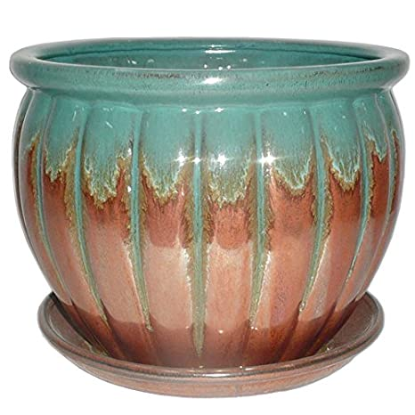 Garden Treasures 8.86 In X 7.87 In Copper Green Ceramic Planter
