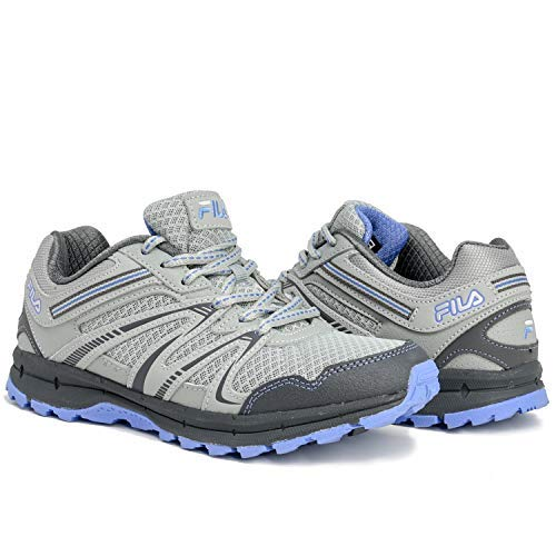 Closeout Womens Athletic Shoes - Fila Northampton Women's Trail Running Hiking Shoes (8.5) Grey/Light Blue