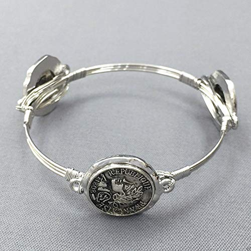 Bohemian Style Silver Antique Wire Wrapped Hammered Coin Design Bangle Bracelet -
