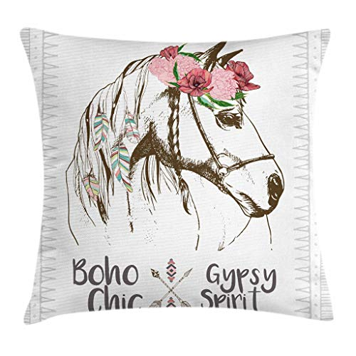 (Ambesonne Animal Throw Pillow Cushion Cover, Boho Horse Head Sketch with Flowers Colorful Feathers Gypsy Spirit, Decorative Square Accent Pillow Case, 18 X 18 Inches, Army Green Pale Pink)