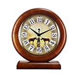 HAOFAY European-style Living Room Retro Solid Wood Mosaic Desktop Clock, Rural Garden Quartz Clock Desk and Shelf Clock
