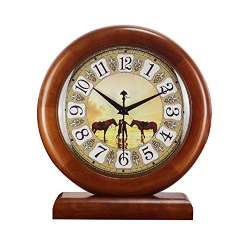 HAOFAY European-style Living Room Retro Solid Wood Mosaic Desktop Clock, Rural Garden Quartz Clock Desk and Shelf Clock