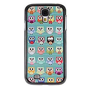 GHK - Many Cartoon Owls Pattern Mirror Smooth Back Hard Case with HD Screen Film 3 Pcs for Samsung Galaxy S4 I9500