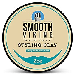Hair Styling Clay for Men – Best Pliable Molding Cream with Strong Hold & Matte Finish – Product for Textured, Thickened & Modern Hairstyles – Shine Free – 2 OZ – Smooth Viking