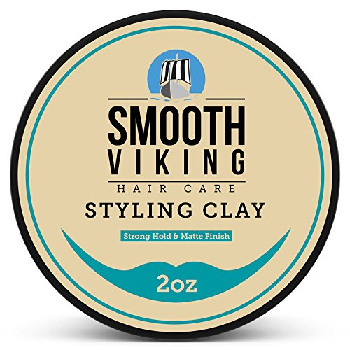 Hair Styling Clay for Men – Pliable Molding Cream with Matte Finish – Product for Textured, Thickened & Modern Hairstyles – Shine Free – 2 OZ – Smooth Viking (Wax Styling Head)