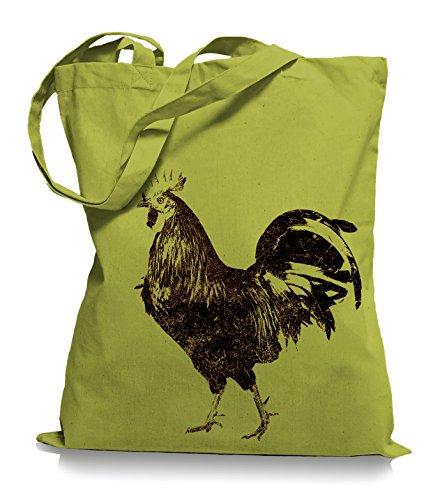 Ma2ca® Schwarzer Hahn Stoffbeutel Einkaufstasche Tasche Tragetasche / Bag WM101 Kiwi OhmmpuUhd
