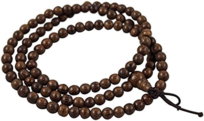 """BROWN WOOD 24/"""" // 60CM LONG WOODEN PRAYER ROSARY LARGE 10MM x 8MM BEADS"""