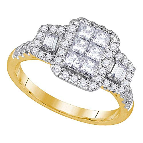 Jewel Tie Size - 5-14k Yellow Gold Princess Cut Round Baguette Diamond Fashion Band OR Engagement Ring Invisible Set Emerald-Shape Shaped Ring (1.02 cttw.)