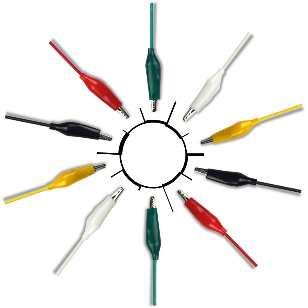 3 Packs 5 Colors 20 Inches 30 Pieces UCTRONICS Alligator Clip Test Leads Double Ended Jumper Wires for Arduino and Raspberry Pi Projects U6032 Gator to Gator