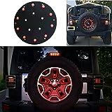 Bestong Spare Tire LED Third 3rd Brake Light Spare Wheel Cover Red Light for 2007-2017 Jeep Wrangler JK JKU Unlimited Rubicon Sahara (10 LED Spare Tire light)