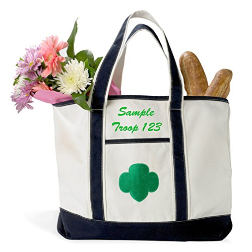 Girl Scouts Official Boat Tote Canvas Bag with Custom Name Leader Troop Mom Embroidery