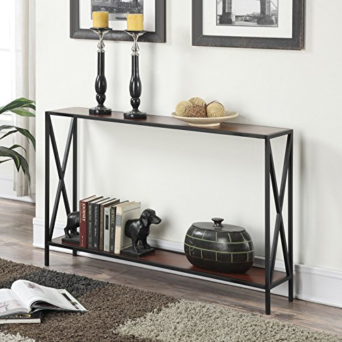 Black & Cherry Finish Modern Farmhouse Industrial Chic Wood Metal Slim Profile Console Table 47.25