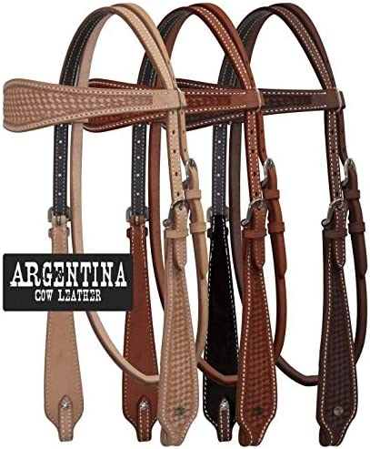Showman Argentina Cow Leather Browband HEADSTALL w// Basket Weave Tooling